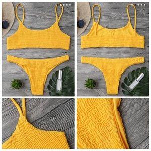 Yellow smocked Brazilian bikini